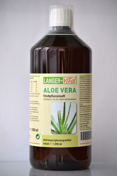 Aloe Vera Frischpflanzensaft (99,6 %) mit Vit. C, B6, B12, Biotin und Pantothenol, 1000 ml