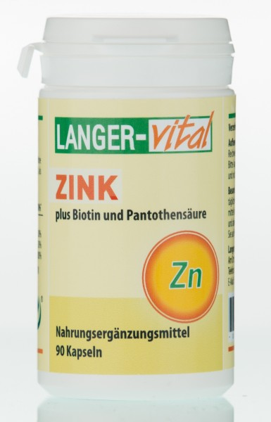 Zink plus Vitamine, Biotin + Pantothensäure, 90 Kapseln