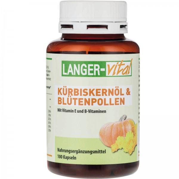 Kürbiskernöl und Blütenpollen mit Vitamin E + B-Vitaminen, 100 Kapseln